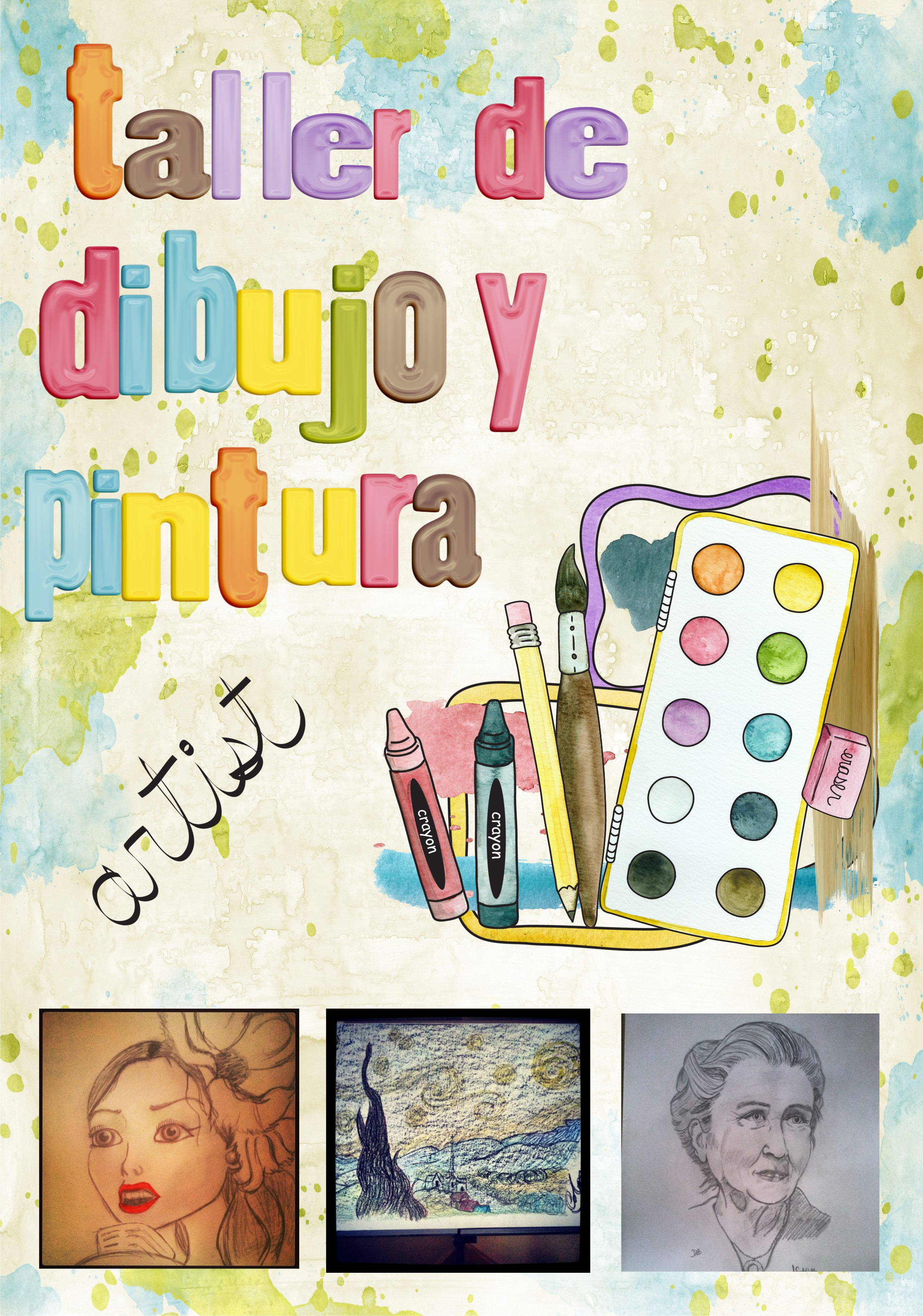Taller dibujo y pintura cartel1 - Pintura infantil pared ...